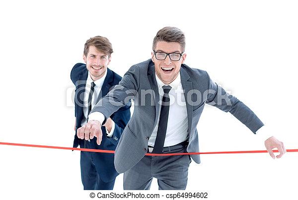 線, 終わり, ビジネスマン, 交差点 - csp64994602