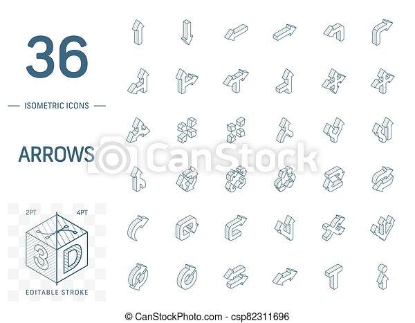 線, 3d, 方向, 等大, icons., ベクトル, 矢 - csp82311696