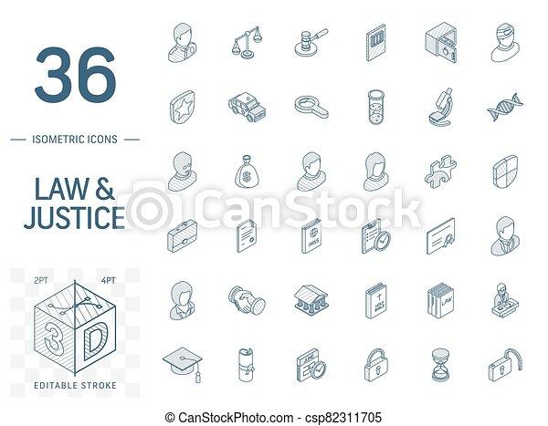 線, 3d, 正義, 法律, 等大, icons., ベクトル - csp82311705