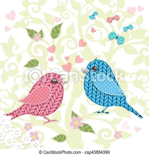 編まれる, デザイン, 木, あなたの, 鳥 - csp43884399
