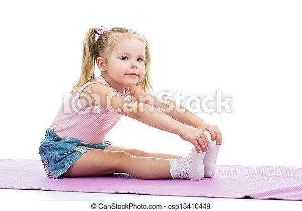 練習, 女の子, 子供, フィットネス - csp13410449