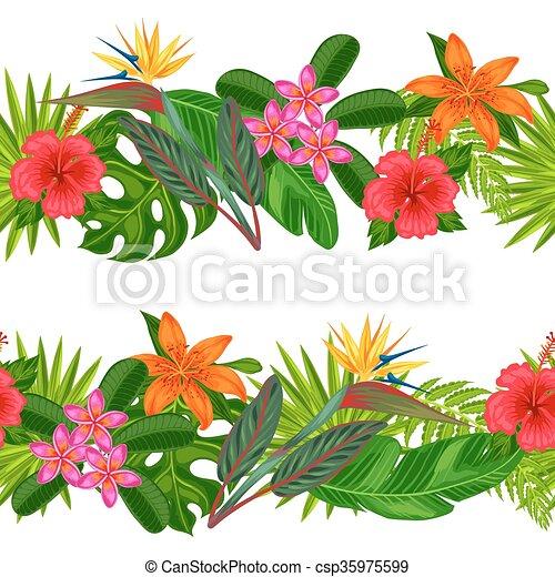 織物, 切り抜き, 作られた, 背景, 背景, 葉, 包むこと, 使用, seamless, トロピカル, flowers., mask., ペーパー, 容易である, なしで, 植物, ボーダー, 横 - csp35975599
