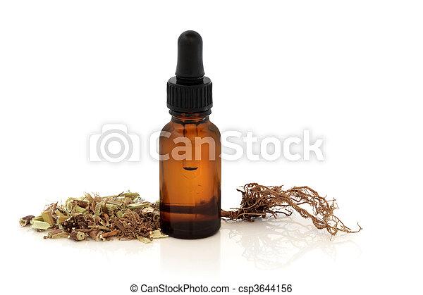 纈草屬植物, 根, 藥酒, 瓶子 - csp3644156