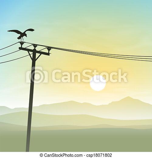 线, 鸟, 电话 - csp18071802
