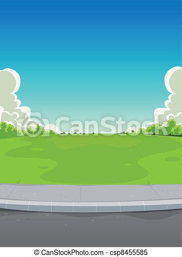 绿色, 人行道, 公园, 背景 - csp8455585