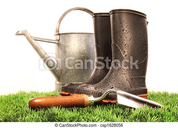 缶, 道具, 水まき, ブーツ, 庭 - csp1628056