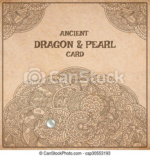 羊皮紙, カード, ドラゴン - csp30553193