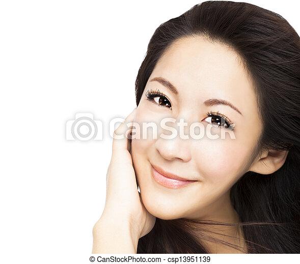 美しい女性, アジア人, 若い, 顔 - csp13951139