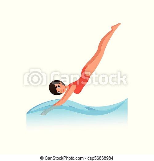 美しい女性 イラスト 水着 水 ベクトル 水 背景 活動 ダイビング