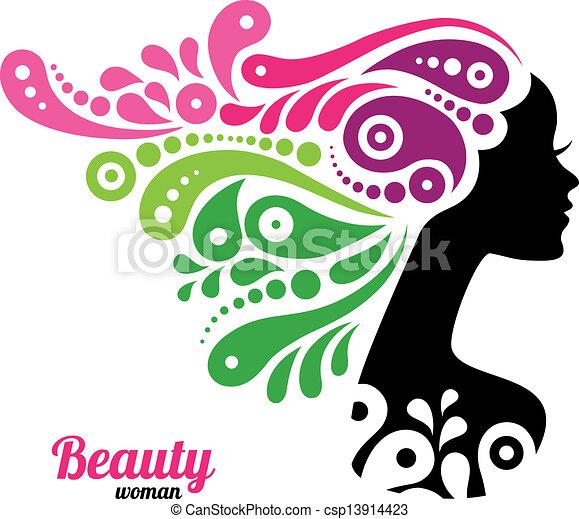 美しい女性, シルエット - csp13914423