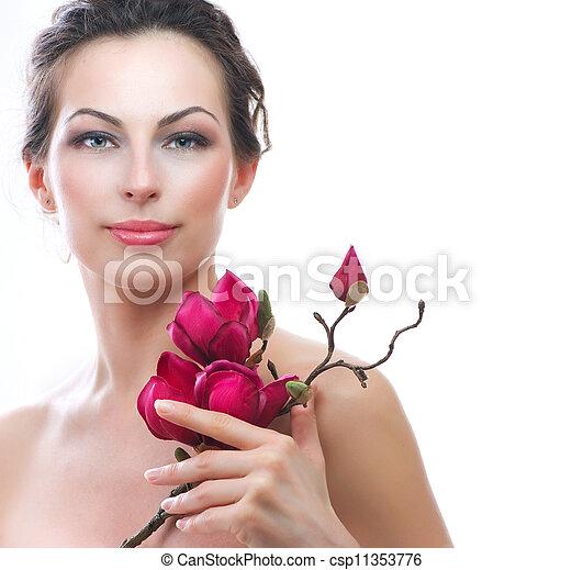 美しい女性, 健康, 春, flowers., エステ - csp11353776