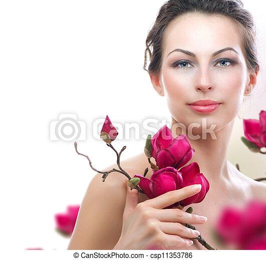 美しい女性, 健康, 春, flowers., エステ - csp11353786