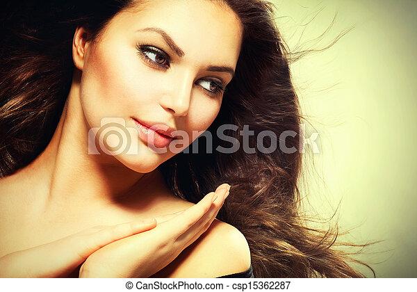 美しい女性, 健康, 毛, ブルネット, 吹く - csp15362287