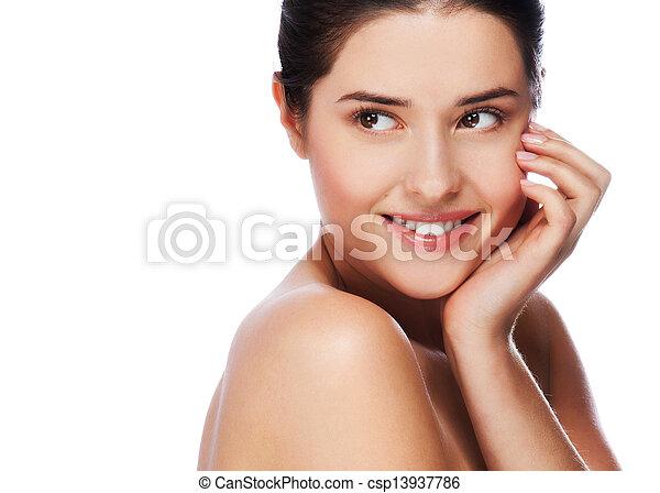 美しい女性, 健康, 若い, 皮膚, 肖像画 - csp13937786
