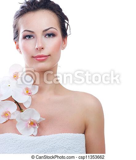 美しい女性, 健康, 若い, skin., 新たに, エステ - csp11353662