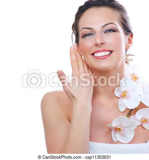 美しい女性, 健康, 若い, skin., 新たに, エステ - csp11353631
