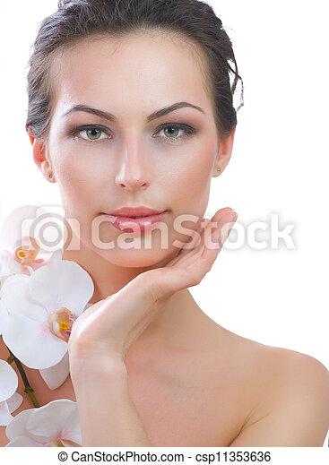 美しい女性, 健康, 若い, skin., 新たに, エステ - csp11353636