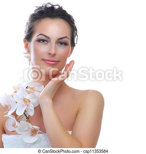 美しい女性, 健康, 若い, skin., 新たに, エステ - csp11353584