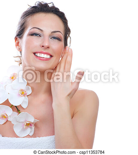 美しい女性, 健康, 若い, skin., 新たに, エステ - csp11353784