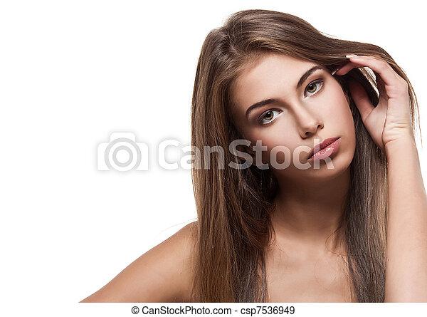 美しい女性, 健康, 隔離された, きれいにしなさい, 皮膚 - csp7536949