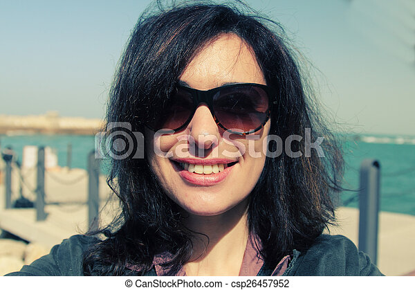 美しい女性, 古い, selfie, 35, 年, 肖像画 - csp26457952