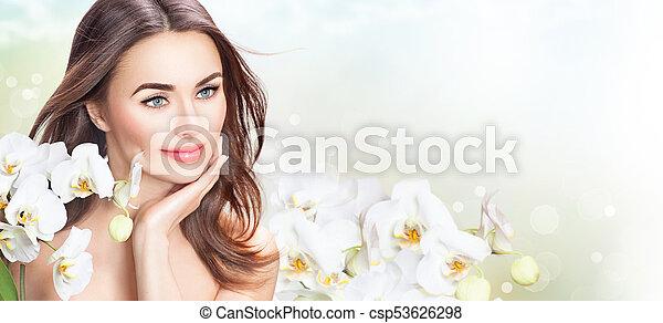 美しい女性, 彼女, 美しさ, 顔, flowers., 感動的である, エステ, 女の子, 蘭 - csp53626298