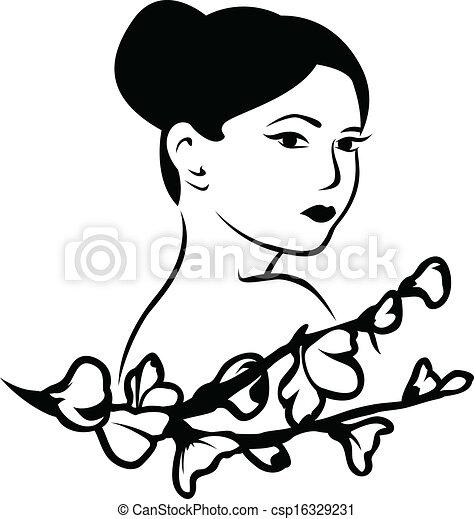 美しい女性, 日本語 - csp16329231