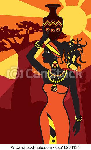 美しい女性, 日没, アフリカ - csp16264134