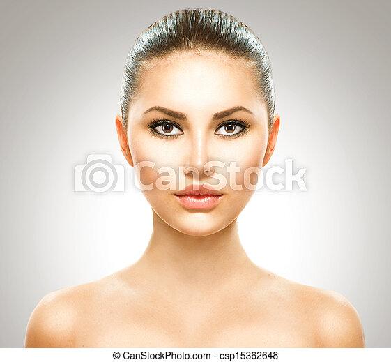 美しい女性, 美しさ, 若い, girl., きれいにしなさい, 皮膚, 新たに - csp15362648