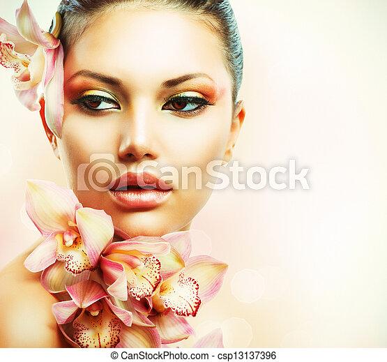 美しい女性, 美しさ, 顔, flowers., 女の子, 蘭 - csp13137396