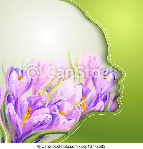 美しい女性, 花, 若い - csp18772503