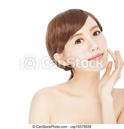美しい女性, 若い, きれいにしなさい, 皮膚 - csp16579038