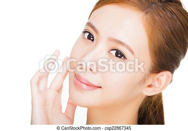 美しい女性, 若い, きれいにしなさい, 皮膚, 新たに - csp22867345