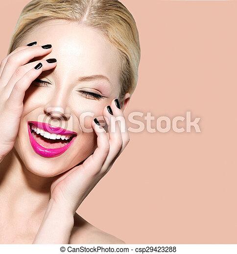 美しい女性, 若い, 笑い, きれいにしなさい, 皮膚, 新たに - csp29423288