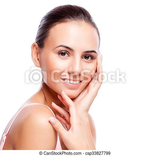 美しい女性, 若い, -, 隔離された, 顔, 成人, きれいにしなさい, 皮膚, 新たに, 白 - csp33827799