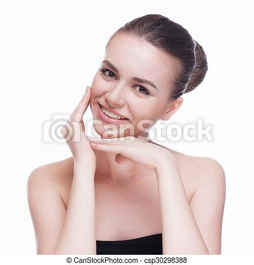 美しい女性, 若い, -, 隔離された, 顔, 成人, きれいにしなさい, 皮膚, 新たに, 白 - csp30298388