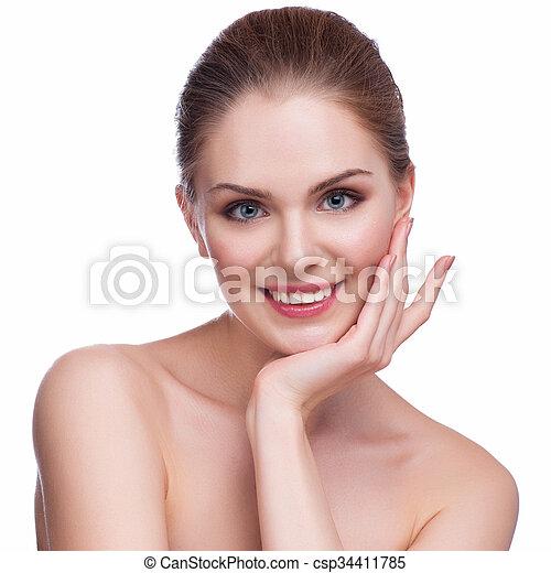 美しい女性, 若い, -, 隔離された, 顔, 成人, きれいにしなさい, 皮膚, 新たに, 白 - csp34411785