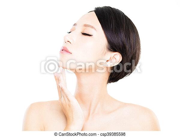 美しい女性, 若い, 顔, きれいにしなさい, 皮膚, 新たに - csp39385598