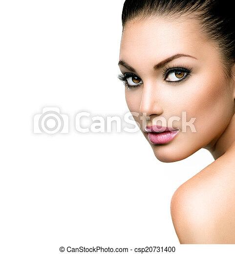 美しい女性, 若い, 顔, きれいにしなさい, 皮膚, 新たに - csp20731400