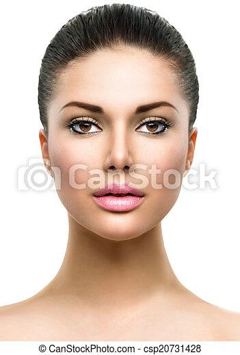美しい女性, 若い, 顔, きれいにしなさい, 皮膚, 新たに - csp20731428