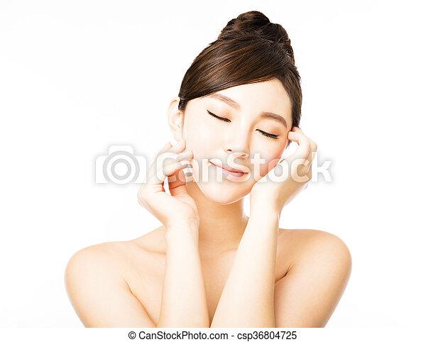 美しい女性, 若い, 顔, きれいにしなさい, 皮膚, 新たに - csp36804725