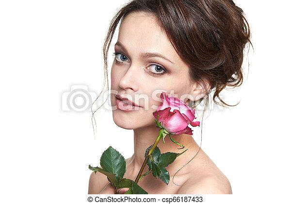 美しい女性, 若い, 顔, きれいにしなさい, 皮膚, 新たに - csp66187433
