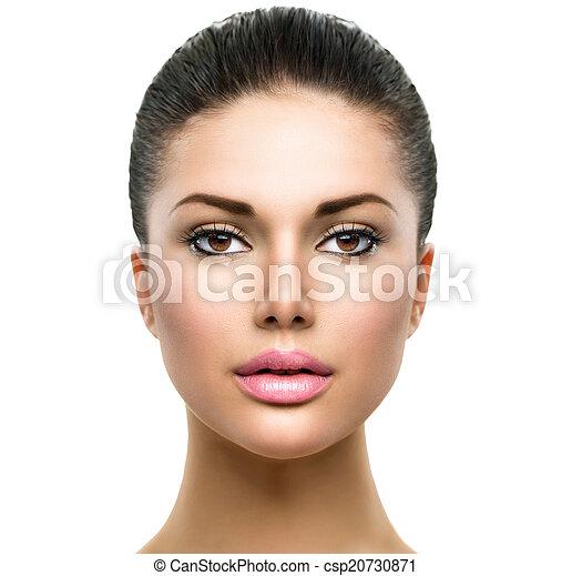 美しい女性, 若い, 顔, きれいにしなさい, 皮膚, 新たに - csp20730871