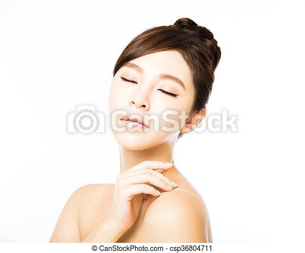 美しい女性, 若い, 顔, きれいにしなさい, 皮膚, 新たに - csp36804711