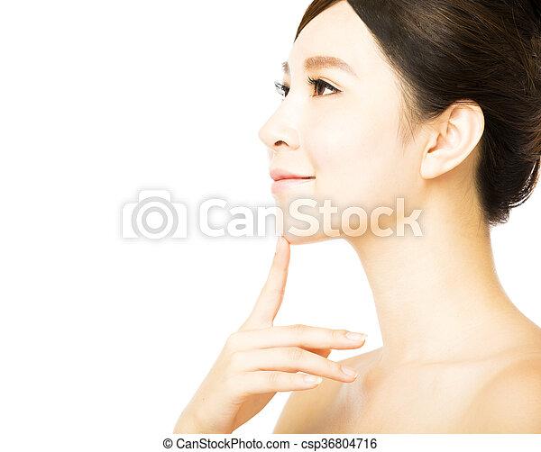 美しい女性, 若い, 顔, きれいにしなさい, 皮膚, 新たに - csp36804716