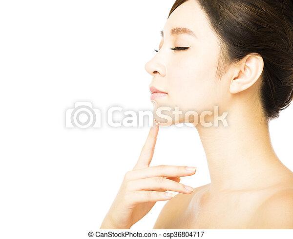 美しい女性, 若い, 顔, きれいにしなさい, 皮膚, 新たに - csp36804717