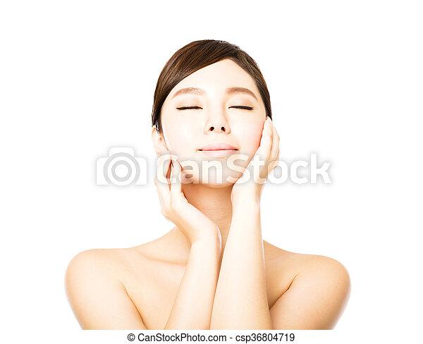 美しい女性, 若い, 顔, きれいにしなさい, 皮膚, 新たに - csp36804719