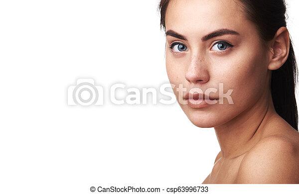 美しい女性, 若い, skin., きれいにしなさい, 新たに - csp63996733