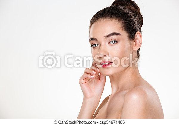 美しい女性, 見なさい, 上に, 若い, 魅了, ポーズを取る, 背景, 皮膚, 肖像画, 新たに, 横, 白 - csp54671486