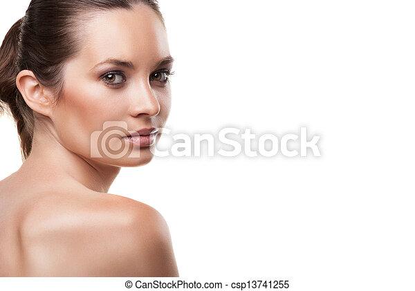 美しい女性, 隔離された, 顔, きれいにしなさい, 皮膚 - csp13741255